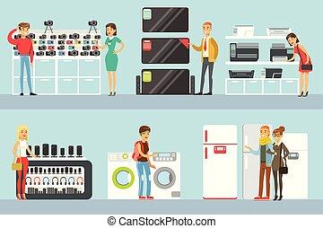 magasin, ensemble, achats, aide, gens, aide, conjugal, choisir, équipement, caractères, électronique, dessin animé, magasin, heureux