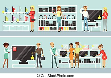 magasin, ensemble, achats, aide, gens, aide, conjugal, choisir, équipement, caractères, sourire, électronique, dessin animé, magasin