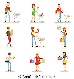 magasin, ensemble, achats, gens, centre commercial, objets, produits, magasin, caractères, département, dessin animé, achat