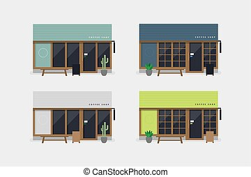 magasin, ensemble café, moderne, devant, vue., café, ou