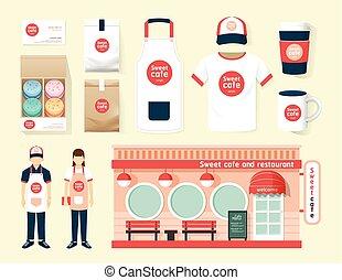 magasin, ensemble, café, vecteur, restaurant