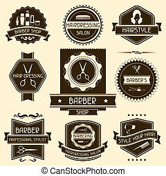 magasin, ensemble, coiffeur, retro, style., insignes