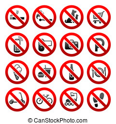 magasin, ensemble, icônes, symboles, interdit, signes