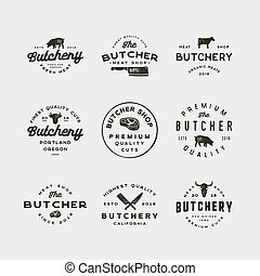 magasin, ensemble, logos., viande, vendange, boucherie, illustration, vecteur, retro, appelé, emblems.