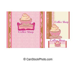 magasin, ensemble, menu, café, restaurant