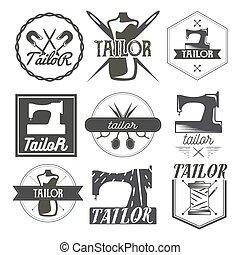magasin, ensemble, vendange, étiquettes, couture, tailleur, vecteur, logo, emblems., éléments conception