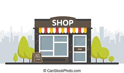 magasin, extérieur, façade, illustration espace, sity, vecteur, magasin, fond, devant, ou, marché