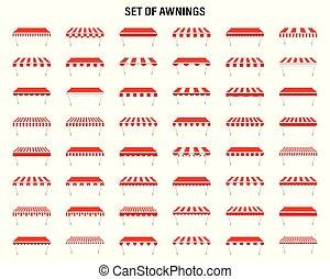 magasin, extérieur, illustration., tentes, vendange, marché, vecteur, roof., marquise, baldaquin, magasin, fenêtre.