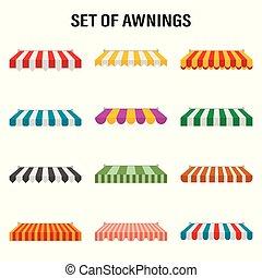magasin, extérieur, tentes, vendange, illustration, marché, vecteur, roof., marquise, baldaquin, magasin, fenêtre.