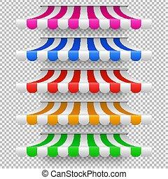 magasin, extérieur, tentes, vendange, isolé, toit, marché, ensemble, vecteur, fenêtre., marquise, magasin, baldaquin