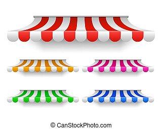 magasin, extérieur, tentes, vendange, toit, marché, fenêtre., marquise, magasin, baldaquin