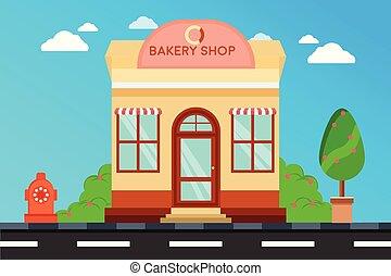 magasin, façade, boulangerie, magasin, moderne, extérieur, illustration, bâtiment., bâtiments