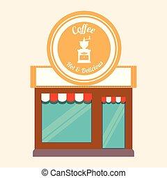 magasin, façade, café, chaud, délicieux