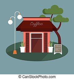 magasin, façade, café