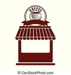 magasin, façade, café, magasin, extérieur