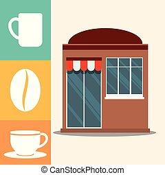 magasin, façade, café, marché