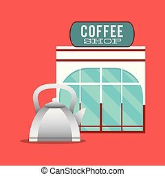 magasin, façade, cafetière, chaud