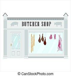 magasin, façade, charcutier
