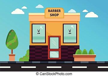 magasin, façade, coiffeur, magasin, moderne, extérieur, illustration, bâtiment., bâtiments