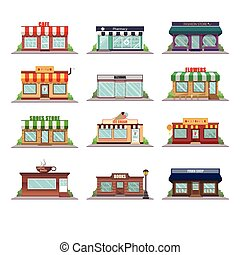 magasin, façade, icônes