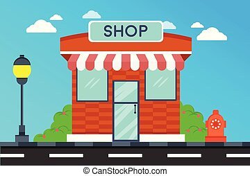 magasin, façade, magasin, moderne, extérieur, illustration, bâtiment., bâtiments
