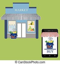 magasin, façade, marché