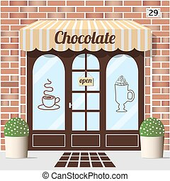 magasin, facade., chocolat