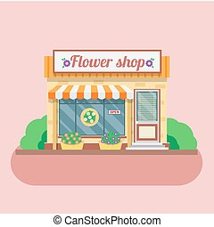 magasin, facade., vecteur, fleur, illustration