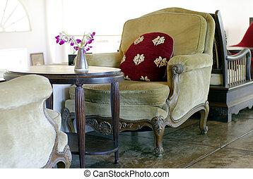 magasin, fauteuil, café, velours