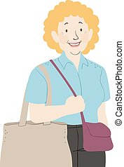 magasin, femme aînée, illustration