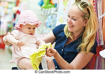 magasin, femme, enfant