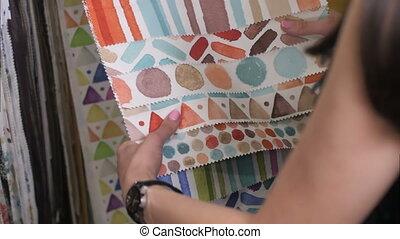 magasin, femme, tissu, intéressant, textile, choisir, ...