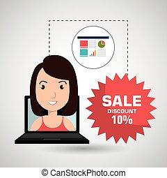 magasin, femme, vente, ligne