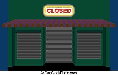 magasin, fermé, shutters., rôle, vide, storefront, plaque, night., vitrine, store., closed., commodité