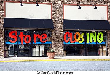 magasin, fermer, et, sortir affaires
