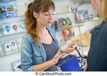magasin, fixation, électronique, femme, informatique