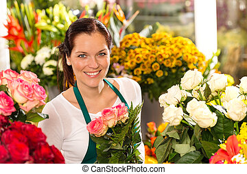 magasin, fleur, coloré, bouquet, fleuriste, confection, sourire