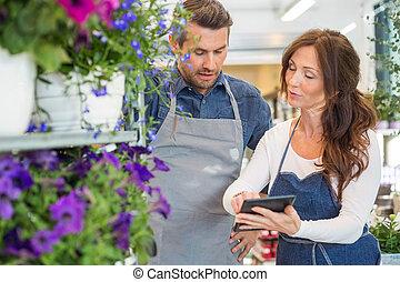 magasin, fleur, fleuristes, tablette, numérique, utilisation