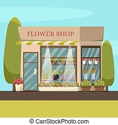 magasin, fleur, fond