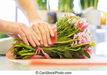 magasin, fleur, papier emballage, fleuriste, fleurs