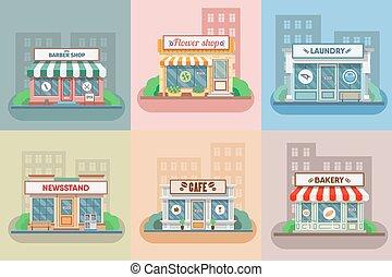 magasin fleur, town., boulangerie, , lessive, coiffeur, ...