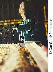 magasin, fonctionnement, travail, haut, machine, bois, foret, fin, maison
