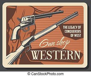 magasin, fusils, américain, occidental, fusils, munitions
