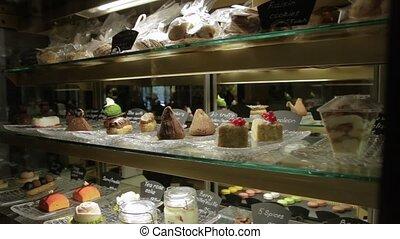 magasin, gâteaux, vitrine