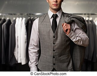 magasin, gilet, classique, contre, procès, homme affaires, rang