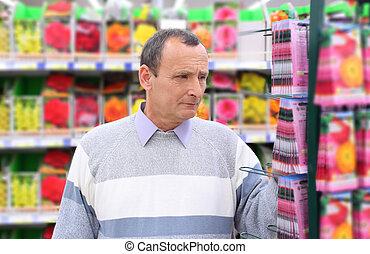 magasin, graines, homme âgé