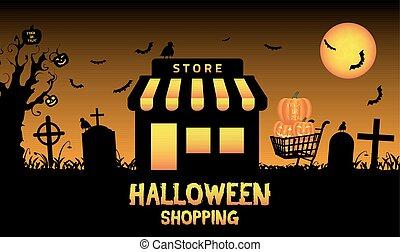magasin, halloween, magasin, cimetière