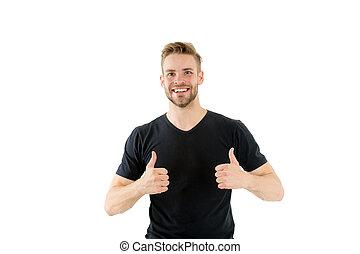 magasin, happy., satisfait, regarde, ton, mieux, heureux, haut, non rasé, arrière-plan., choice., quality., blanc, barbe, barbu, aide, approves, choix, face homme, type, spectacles, ou, pouces