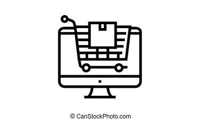 magasin, icône, animation, ligne, ligne