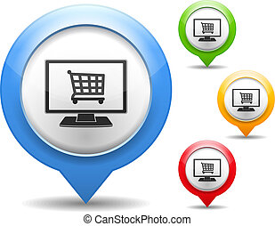 magasin, icône, internet